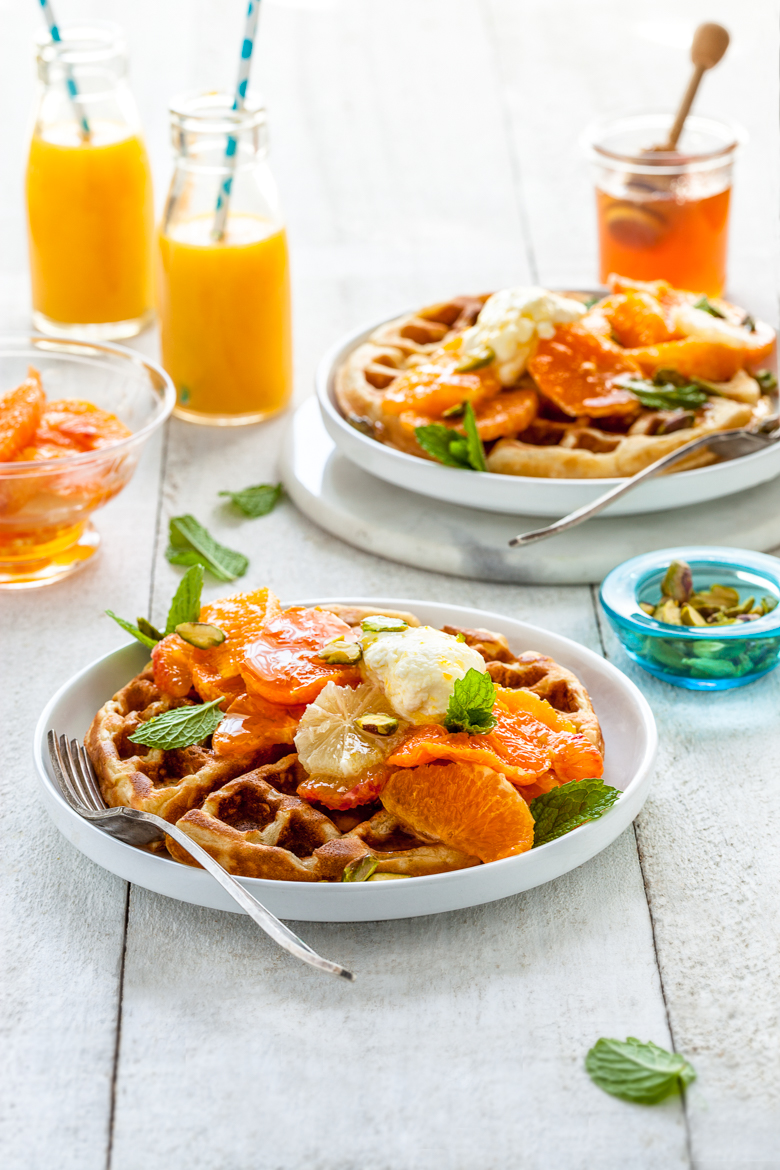 TFU - Waffles with Honey Labne & Citrus Salad