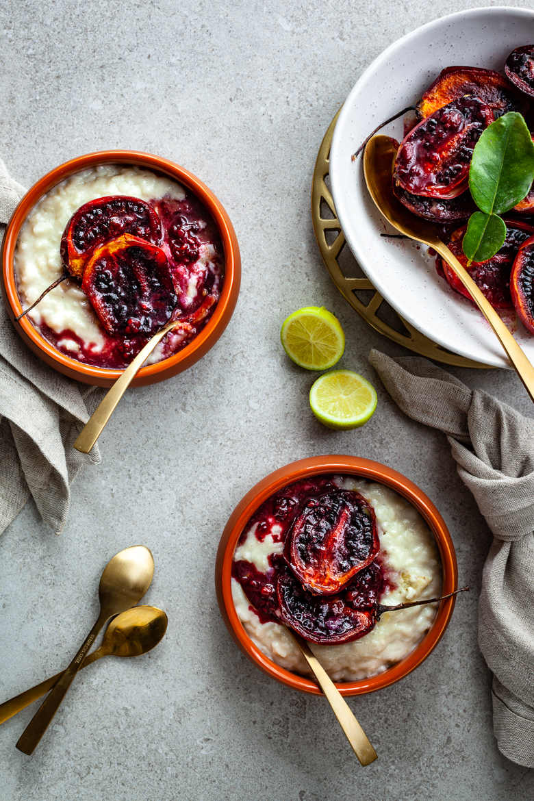MM - Coconut & Lime Rice Pudding with Baked Tamarillos