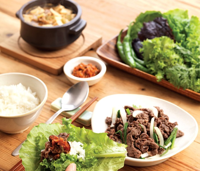 Bulgogi  - Stripped or shredded beef marinated with soy sauce-based condiments and grilled.
