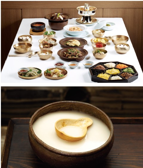Hanjeongsik (Korean Set Menu)  - This traditional Korean set meal typically consisted of rice and soup and an assortment of side dishes. The meal is often divided into subgroups according to the number of side dishes, i.e. 3, 5, 7, 9 and 12.  Makgeolli  - This rustic alcoholic beverage, which is widely popular in Korea, is made by fermenting steamed rice, barley, or wheat mixed with malt.