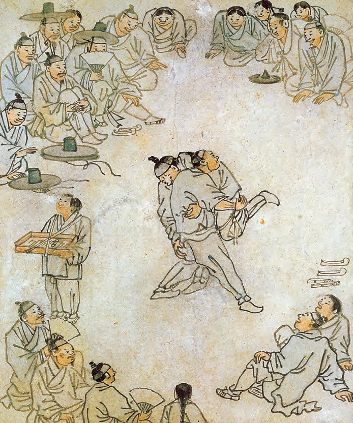 """Ssireum (Korean wrestling)"" by Kim Hong-do (pen-name: Danwon, 1745–1806) (Joseon, 18th century)  - This genre painting by Kim Hong-do, one of the greatest painters of the late Joseon Period, vividly captures a scene of traditional Korean wrestling where two competing wrestlers are surrounded by engrossed spectators."