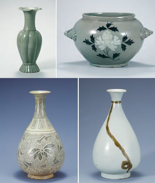 Celadon Melon-shaped Bottle (Goryeo, 12th century)  Celadon Jar with Peony Design (Goryeo, 12th century) Buncheong Bottle with Lotus and Vine Design (Joseon, 15th century)  White Porcelain Bottle with String Design in Underglaze Iron (Joseon, 16th century)