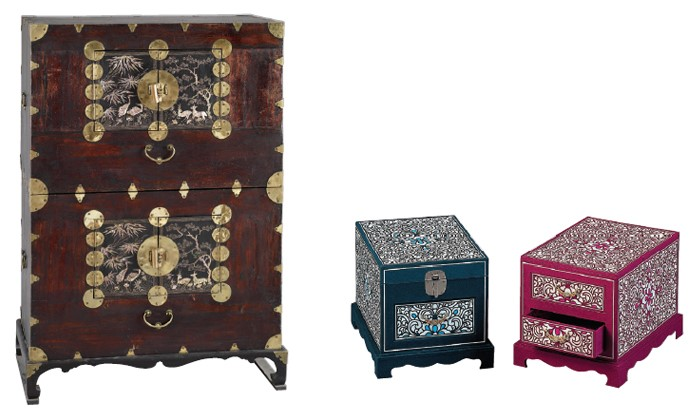 Two-tier Chest  - This exquisite wooden chest used for storing clothes is lavishly decorated with a mother-of-pearl inlay design.  Women's toiletry cases