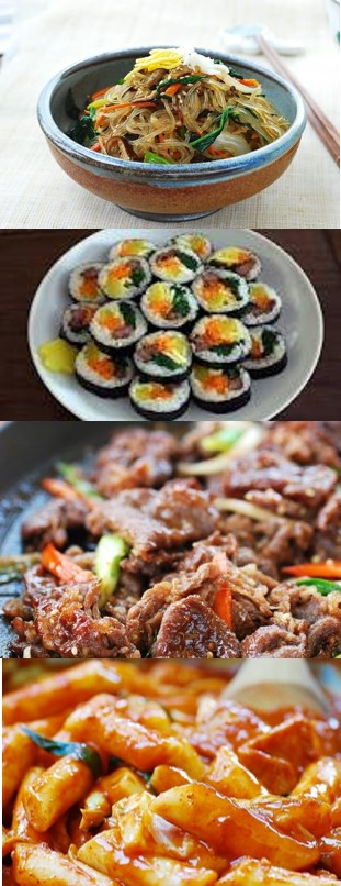 Korean Traditional Food - Japchae, Gimbap, Bulgoki, Tteok-bokki and More….provided by SOS: Sides of Seoul, Kimchi Guys, K-BopJapchae - Japchae is a sweet and savory dish of stir-fried glass noodles and vegetables that is popular in Korean cuisine.Gimbap - Gimbap is a Korean t dish made from cooked rice and other ingredients that are rolled in gim—dried sheets of nori seaweed—and served in bite-sized slices. The dish is often part of a packed meal, or dosirak, to be eaten at picnics and outdoor events.Bulgogi - Bulgogi, literally