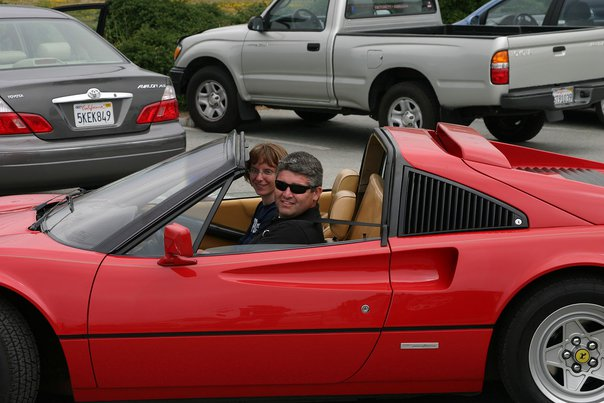 Here's Amy and VincePad in the Ferrari we rented in San Francisco for our tenth wedding anniversary.