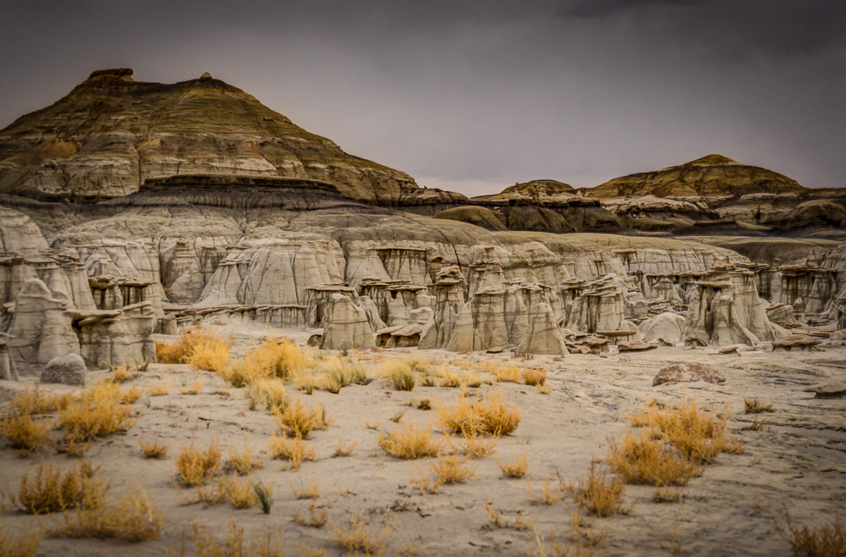 The layers of modern eroded sand, ashy clay, sandstone, coal, limestone, and other formations are clearly visible here.