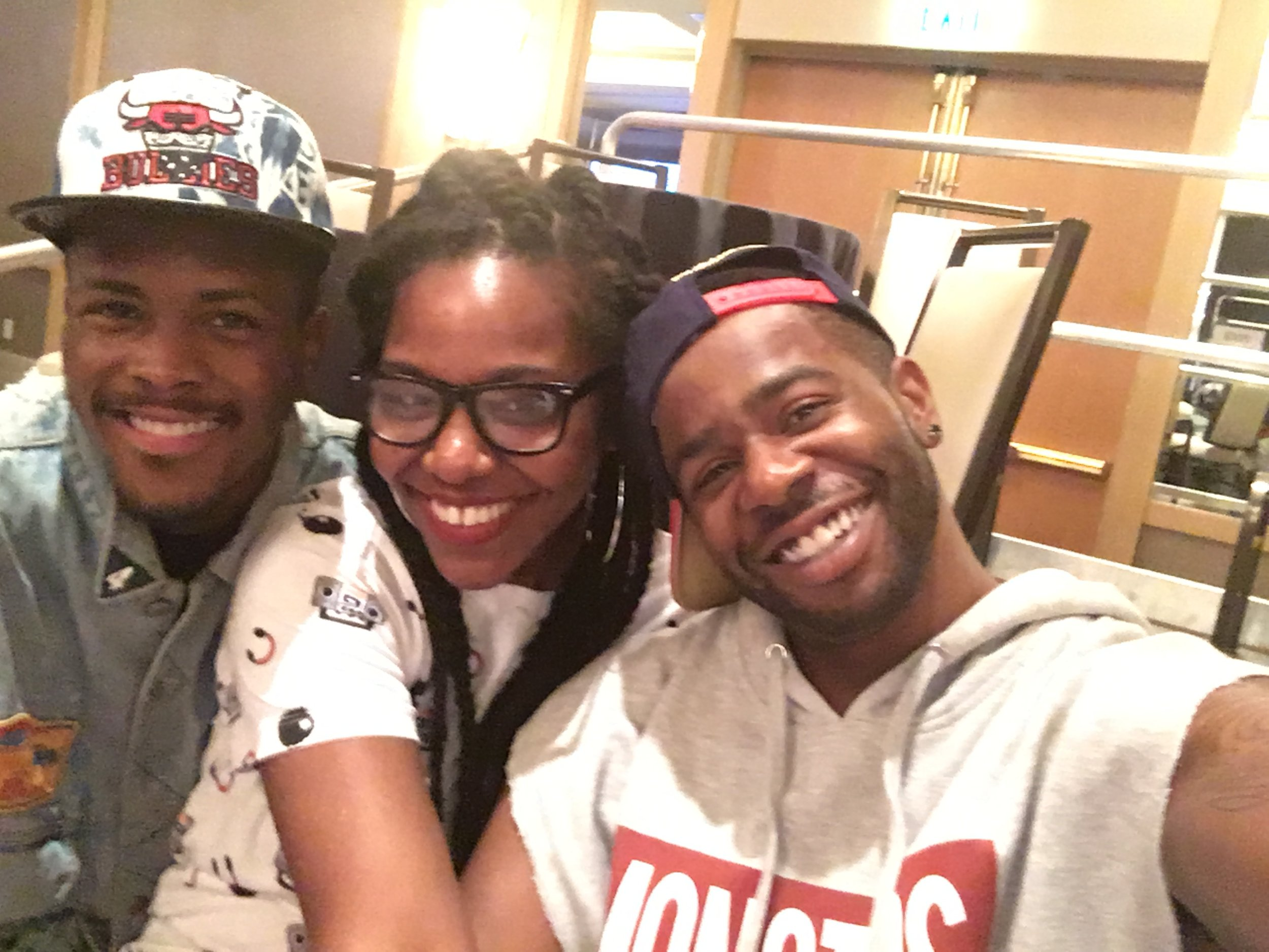 Stopped by to watch Monsters Cast rehearsal. Sitting pretty with these two fellow alumni, Robert Green and Leon Blackwood. Monsters family!