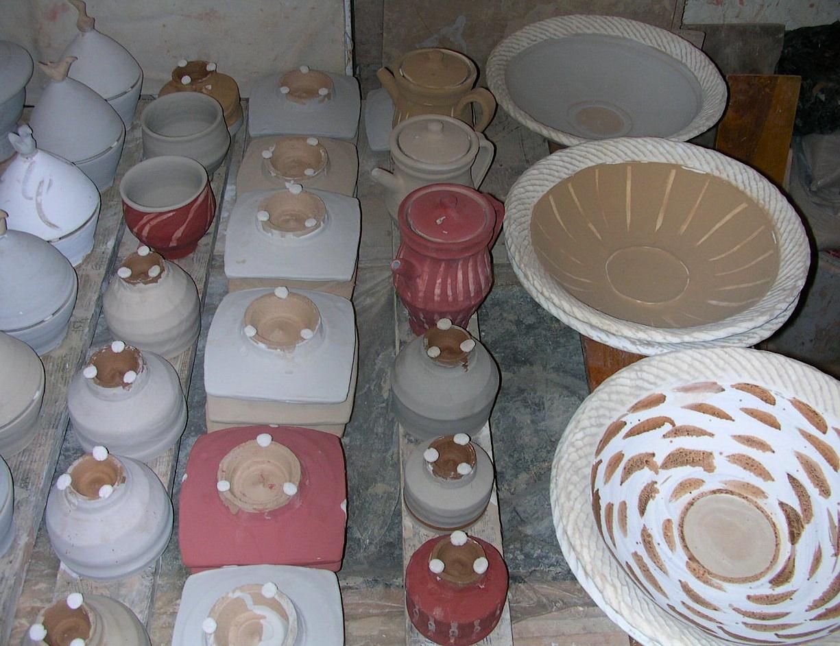 Wadded raw pots