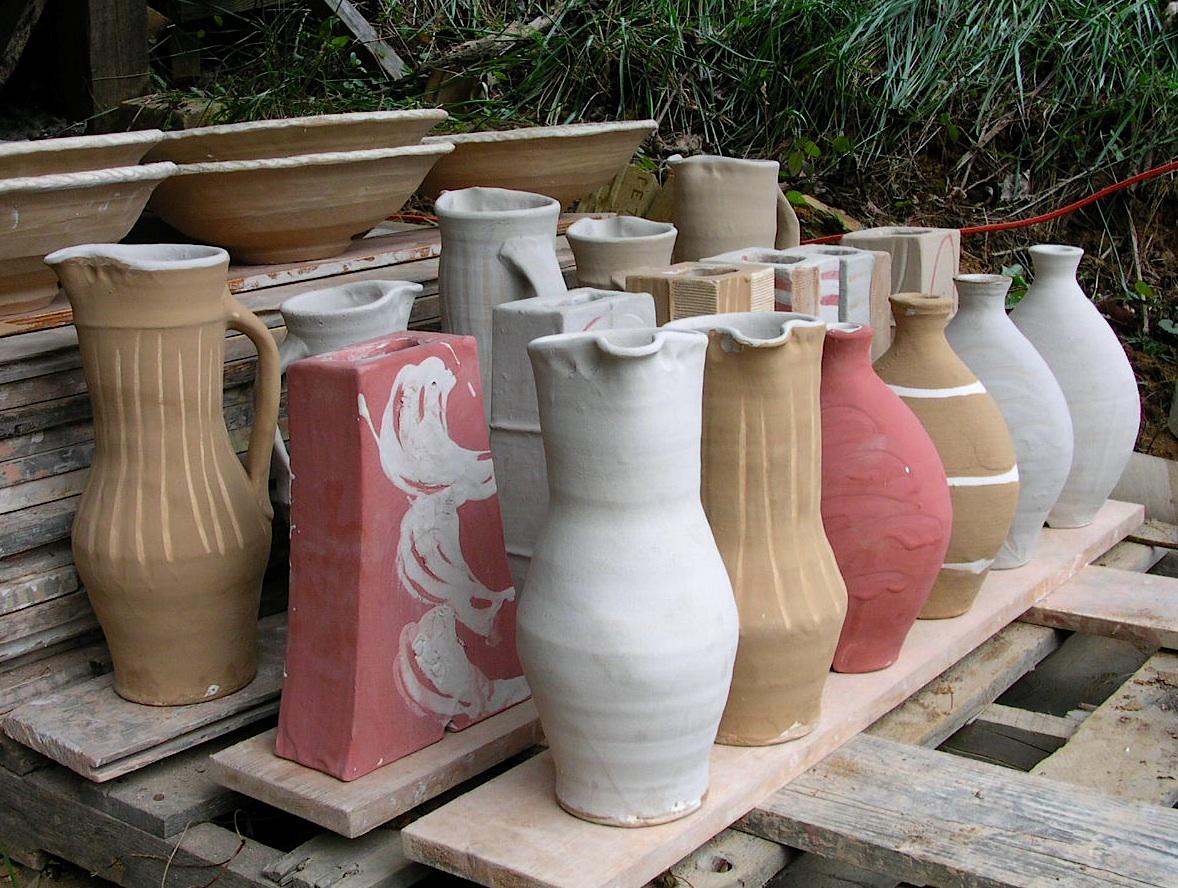 Raw pots ready to load
