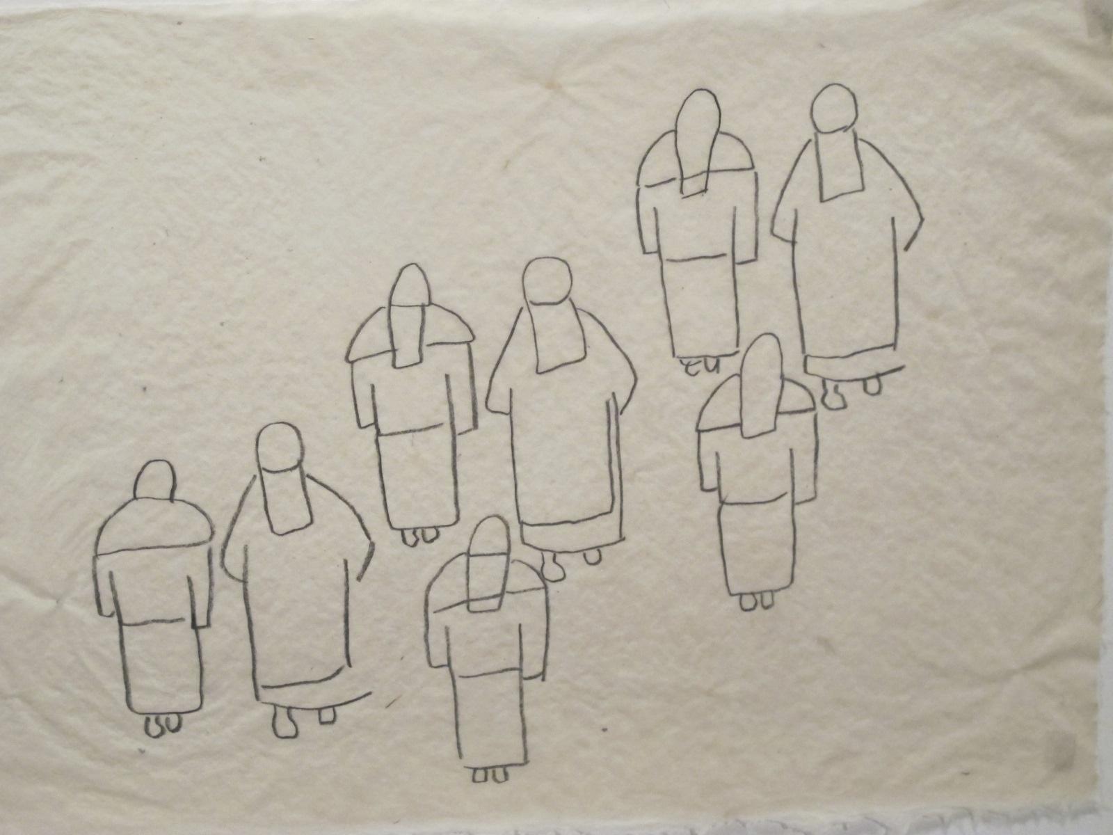 Procession #2. 8B pencil on handmade abaca paper