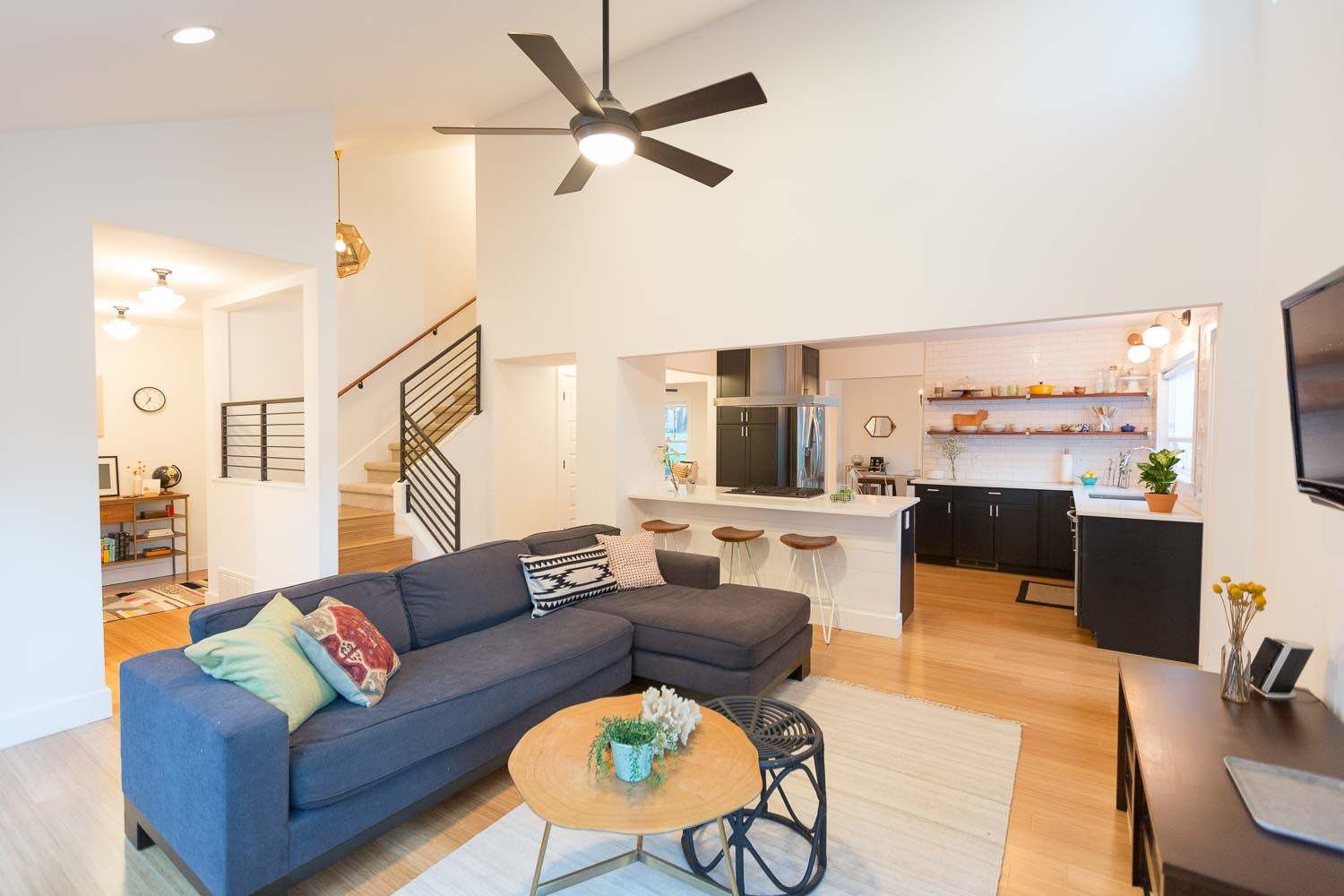 You can get an idea of the great floor plan this home now has thanks to Making Modern Home's space planning.