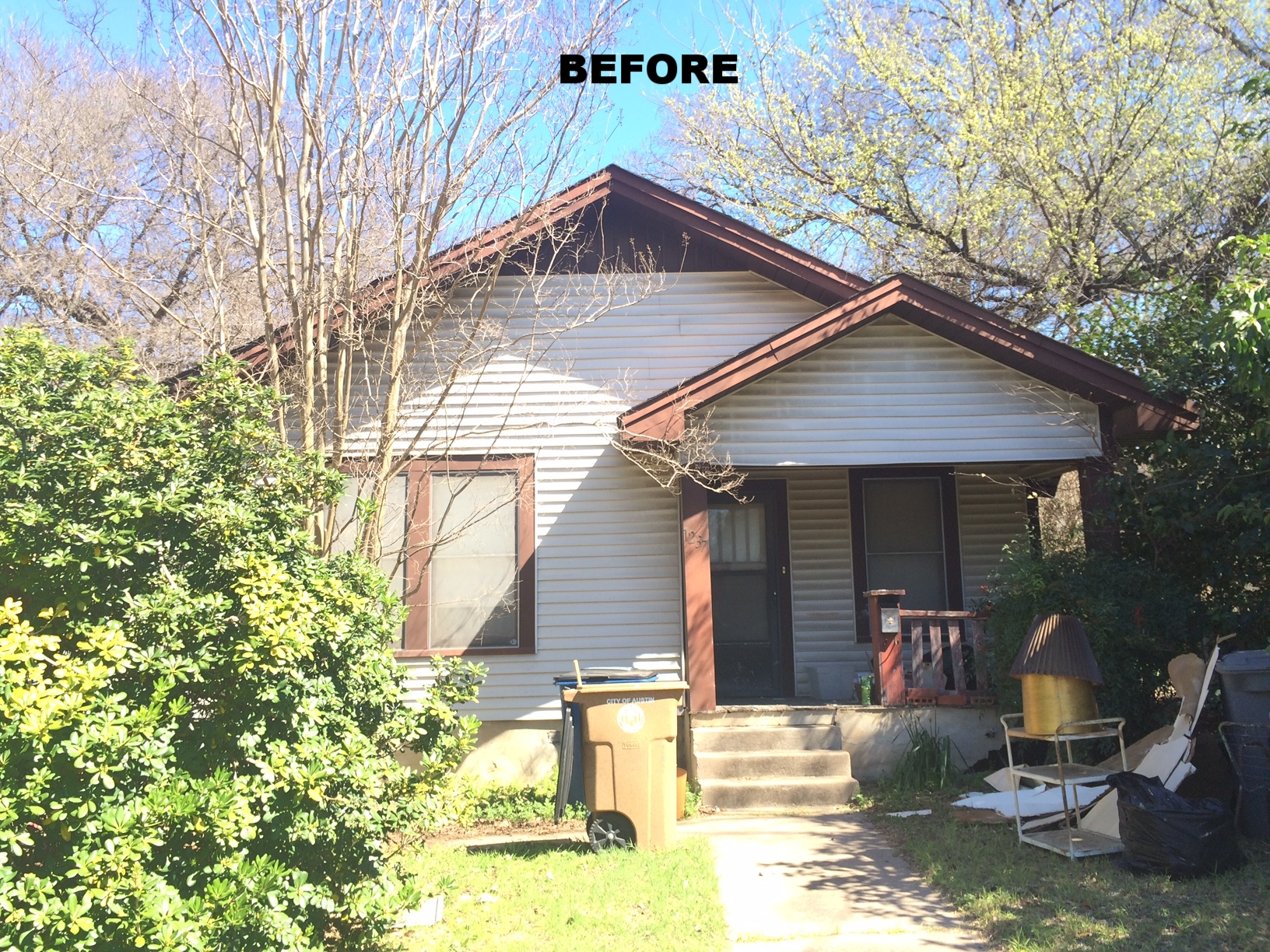 """This before pictures doesn't quite show the extremely poor condition of this """"Tear Down"""". The roof had sagged in many spot and trees limbs were sticking into the attic!"""