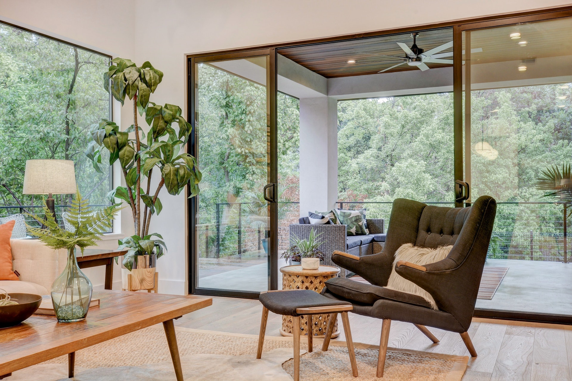 I love this shot of the plant and mid century Hans Wegner chair opening to the outdoor living space. You can see the Ipe ceiling. A creek view is just beyond making this this perfect urban oasis.