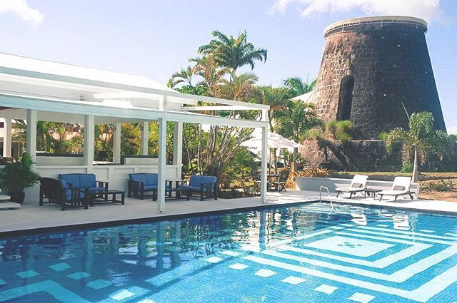 """#naperfectworld this is my #dream #pool. #Mosaic flooring right under a #sugarmill. #TravelTuesday -- Link in bio to find out more about @montpeliernevis and it's """"#royal"""" treatment and #Nevis!  #travel #instatravel"""