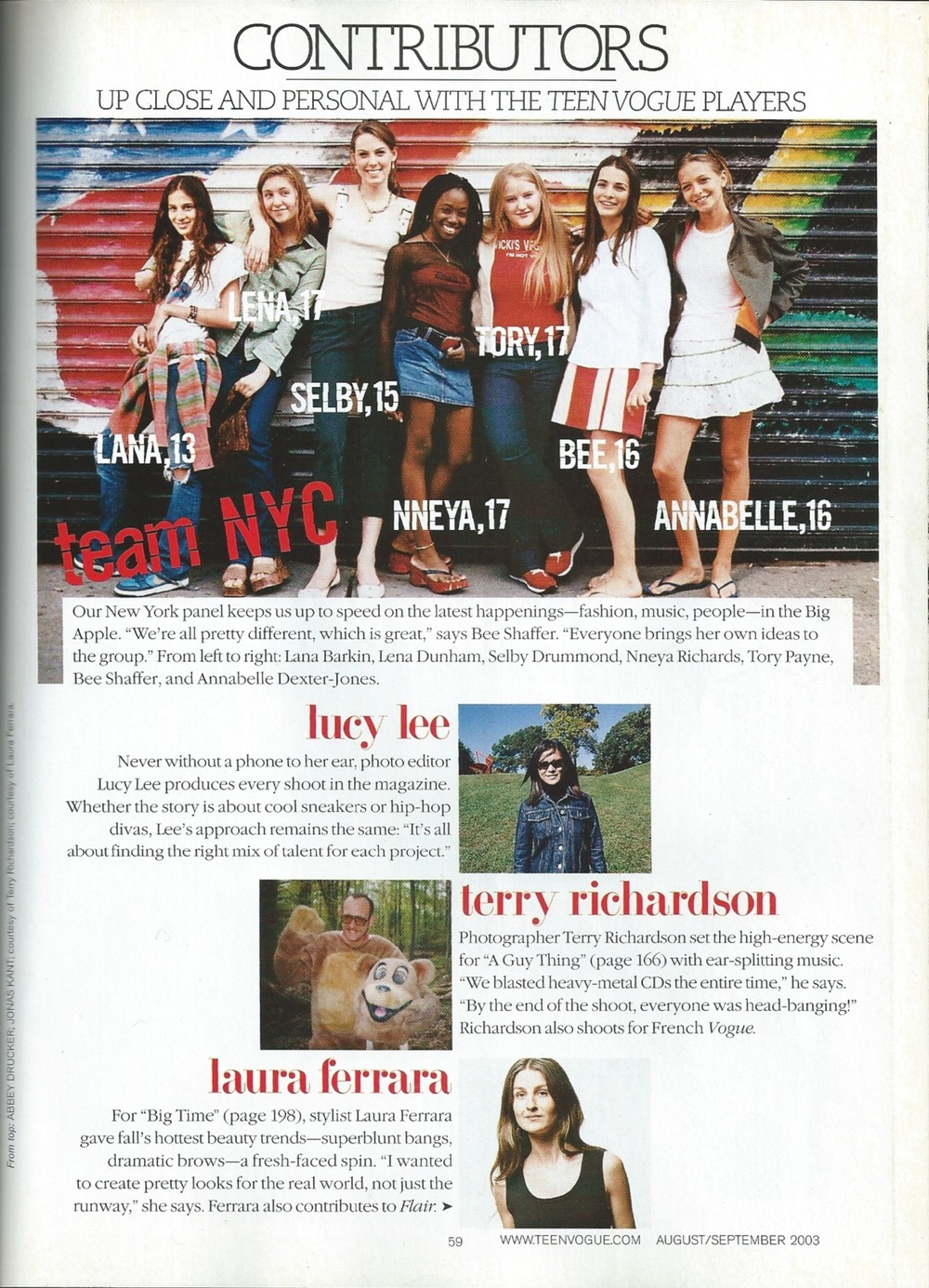 teen VOGUE magazine founding contributing editor from 2003