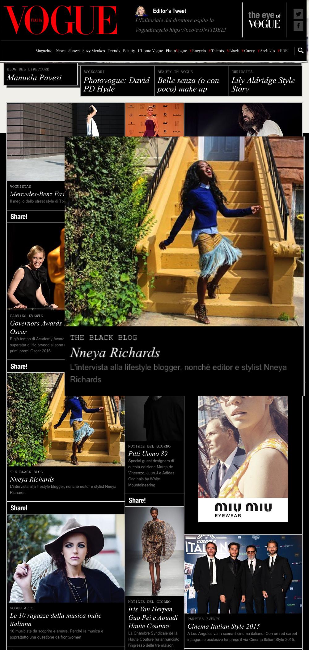Vogue.it homepage November 2015