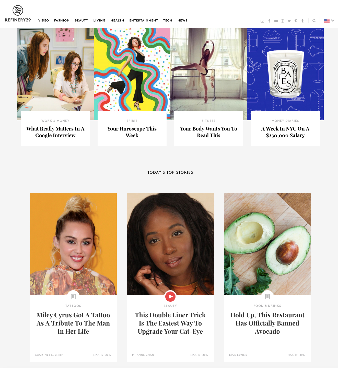 Refinery29 homepage March 2017