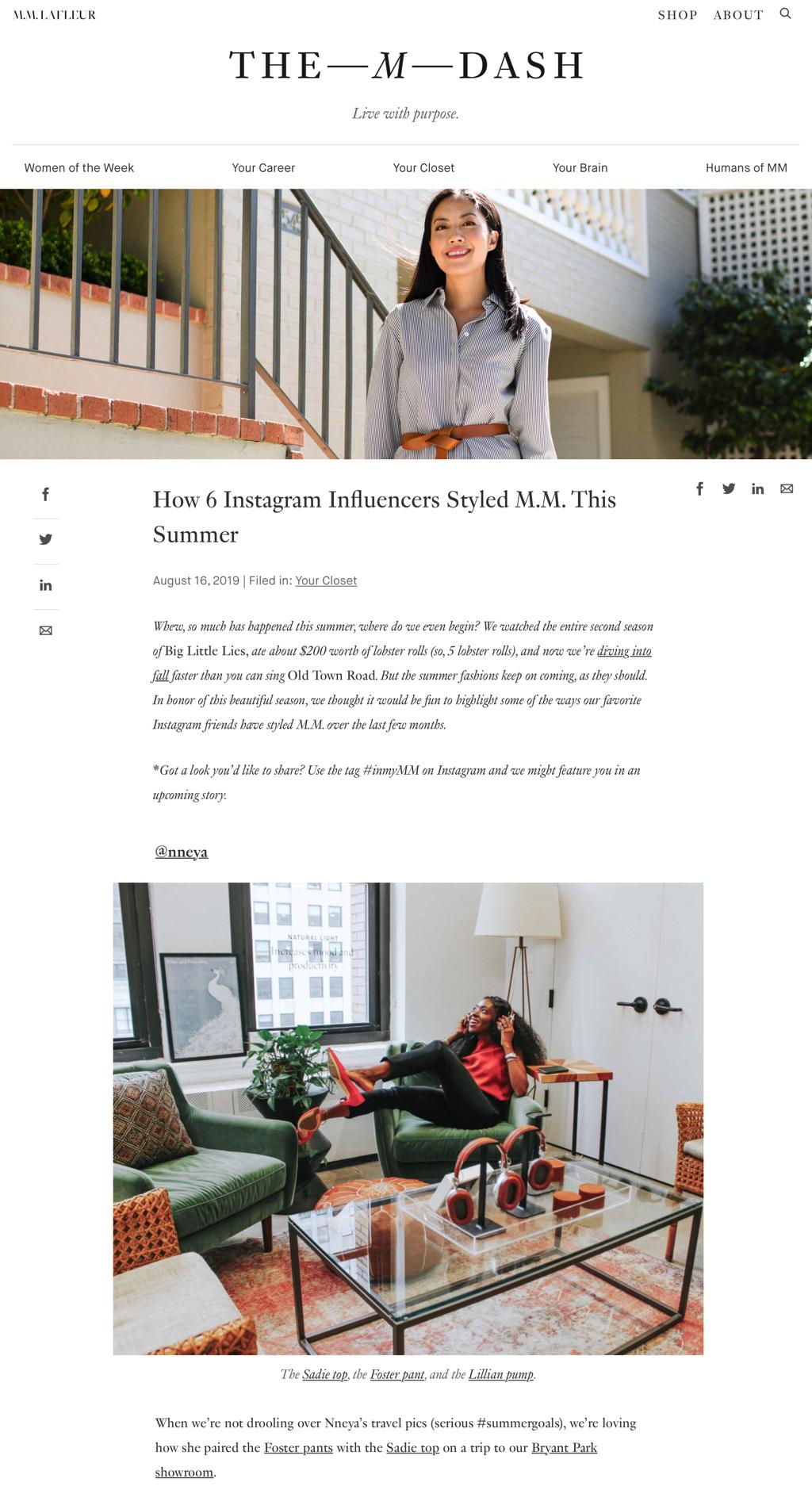 featured on M.M LaFleur's blog August 2019