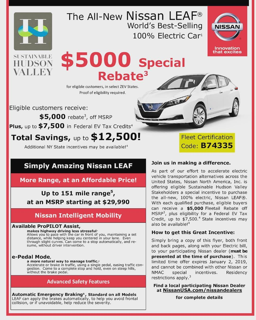 Who is really ready for Discounts?! In Addition to great savings from @kingstonnissanny We have to say Thank you. Let's hear it for @nissanusa with a $5,000 discount. That's to start their 8 weeks of electric vehicle savings with Drive Electric Hudson Valley. Total savings with tax credit till end of year is $12,500 off the cost. Use this discount if you live in the Hudson Valley and want a Nissan Leaf! #driveelectric #hudsonvalley #ny #sethleitman #greenlivingguy #thegreenlivingguy   https://www.instagram.com/p/Bq0_BjHHZgj/?utm_source=ig_tumblr_share&igshid=6xbrht3gmldl