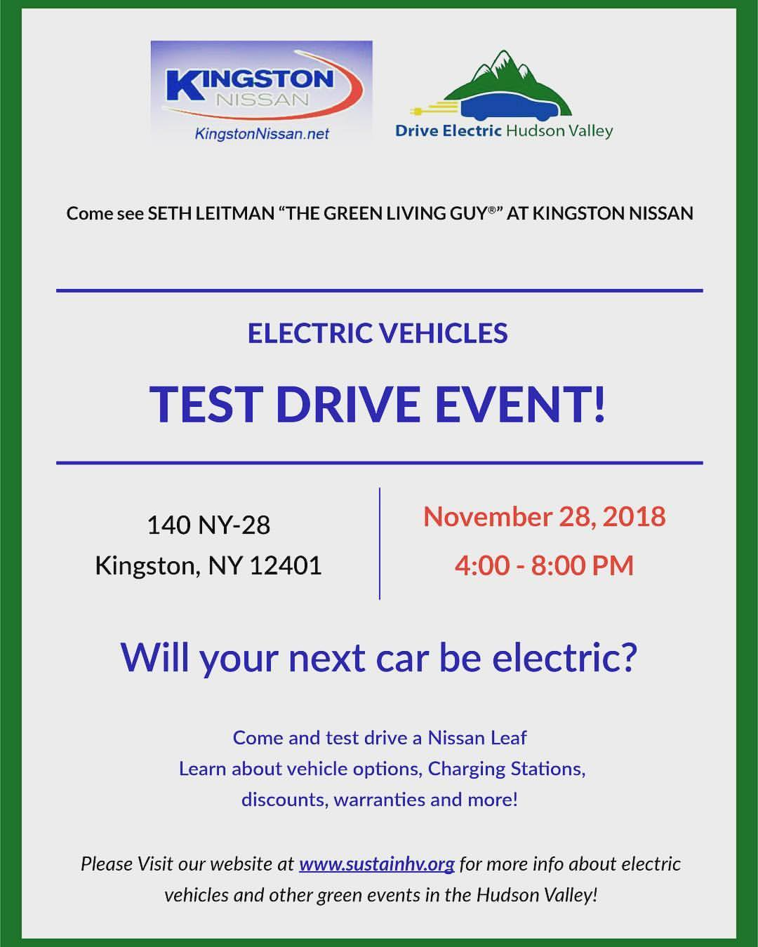 Who's ready to kick off 8 weeks of electric vehicle savings at @kingstonnissanny ?? Go see @robertrolleri because he's got the @nissanusa #leaf inventory on hand. Starting Nov 28 from 4-8 pm.  (at Kingston Nissan)   https://www.instagram.com/p/BqrPeeqH-DN/?utm_source=ig_tumblr_share&igshid=1v6ln3afgsdn4