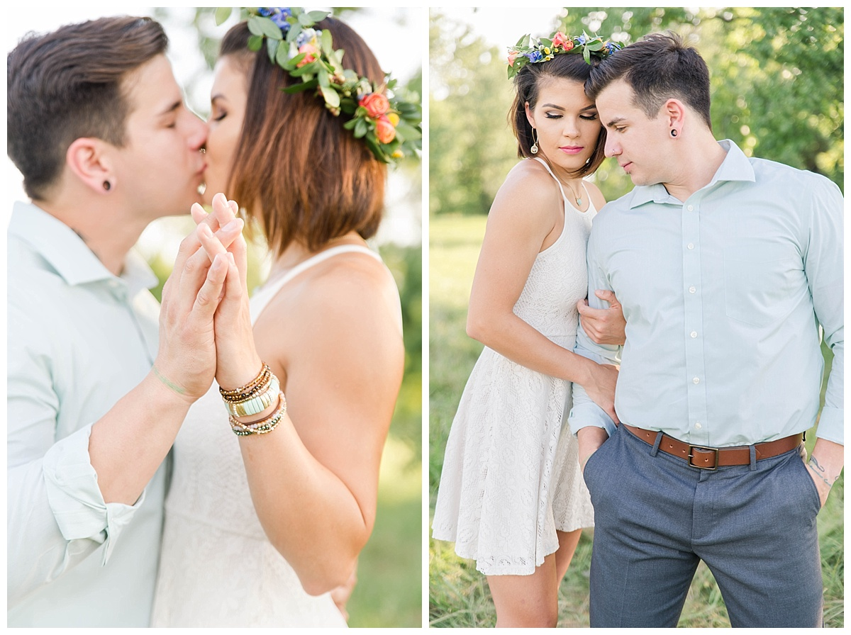 summer engagement with flower crown texas