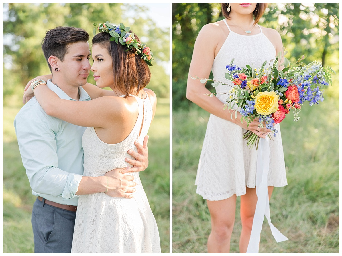 summer engagement session flower crown