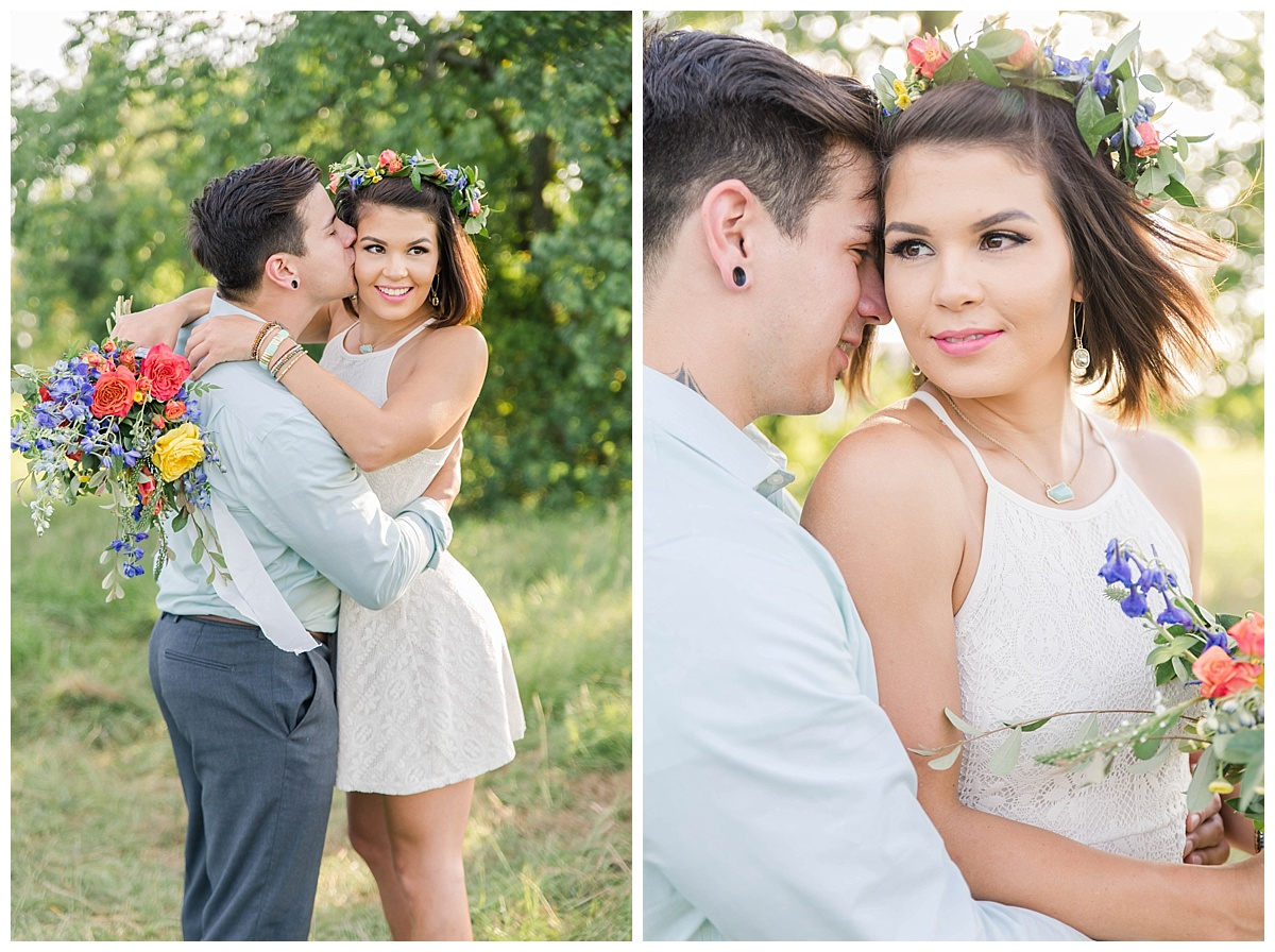 summer engagement with flower crown houston texas