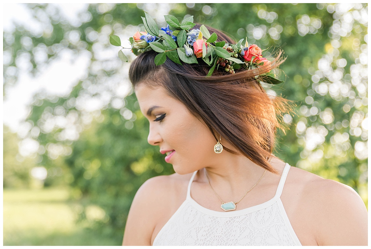 summer flower crown engagement session texas