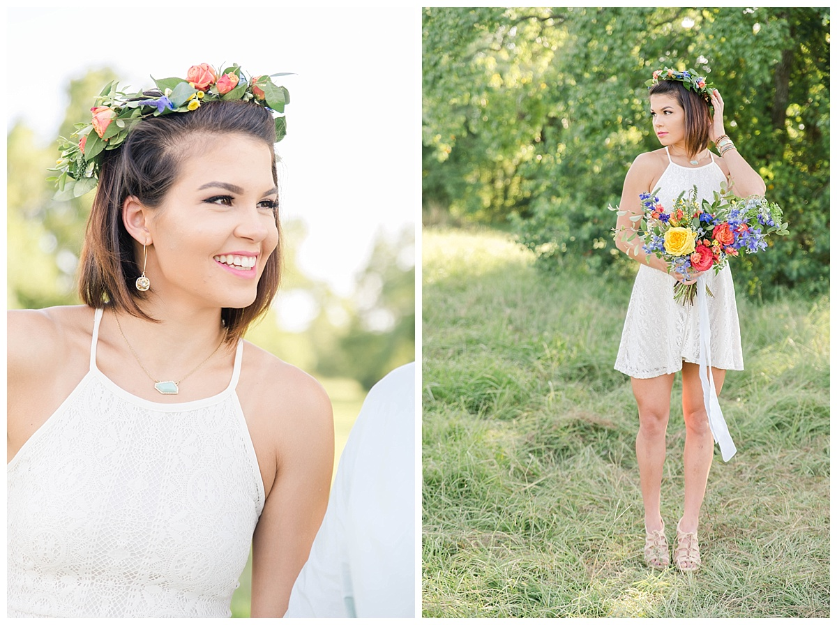 summer engagement session with flower crown texas