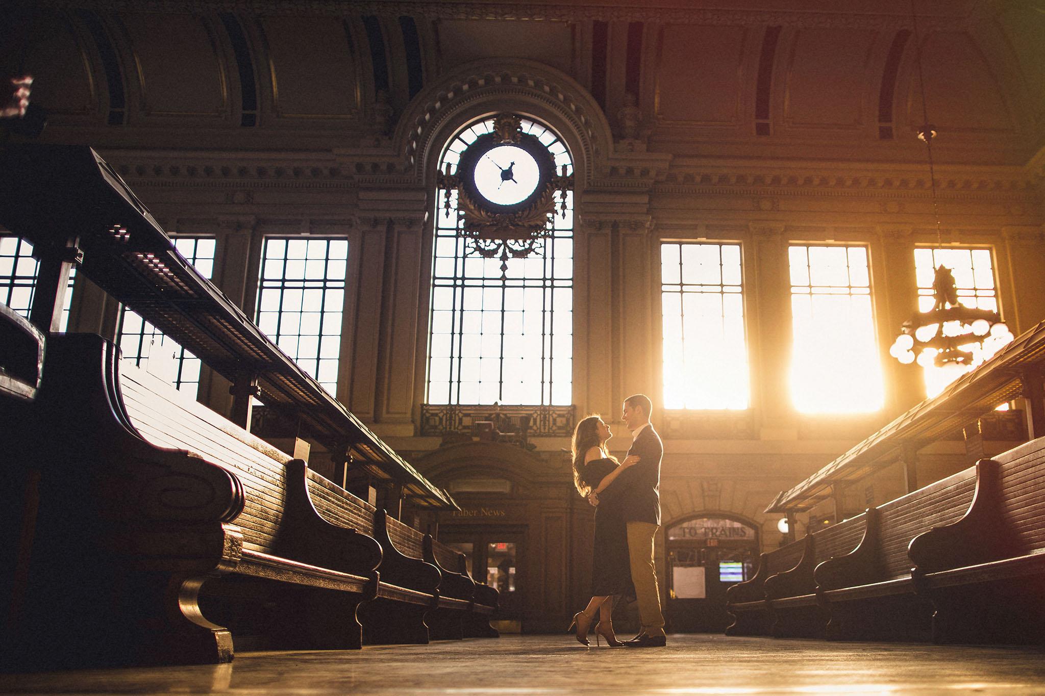 Hoboken Terminal Engagement Session Sunlight