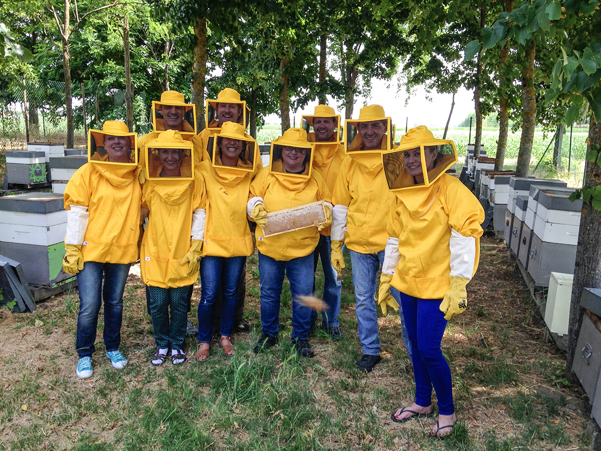 Group photo in the bee farm.