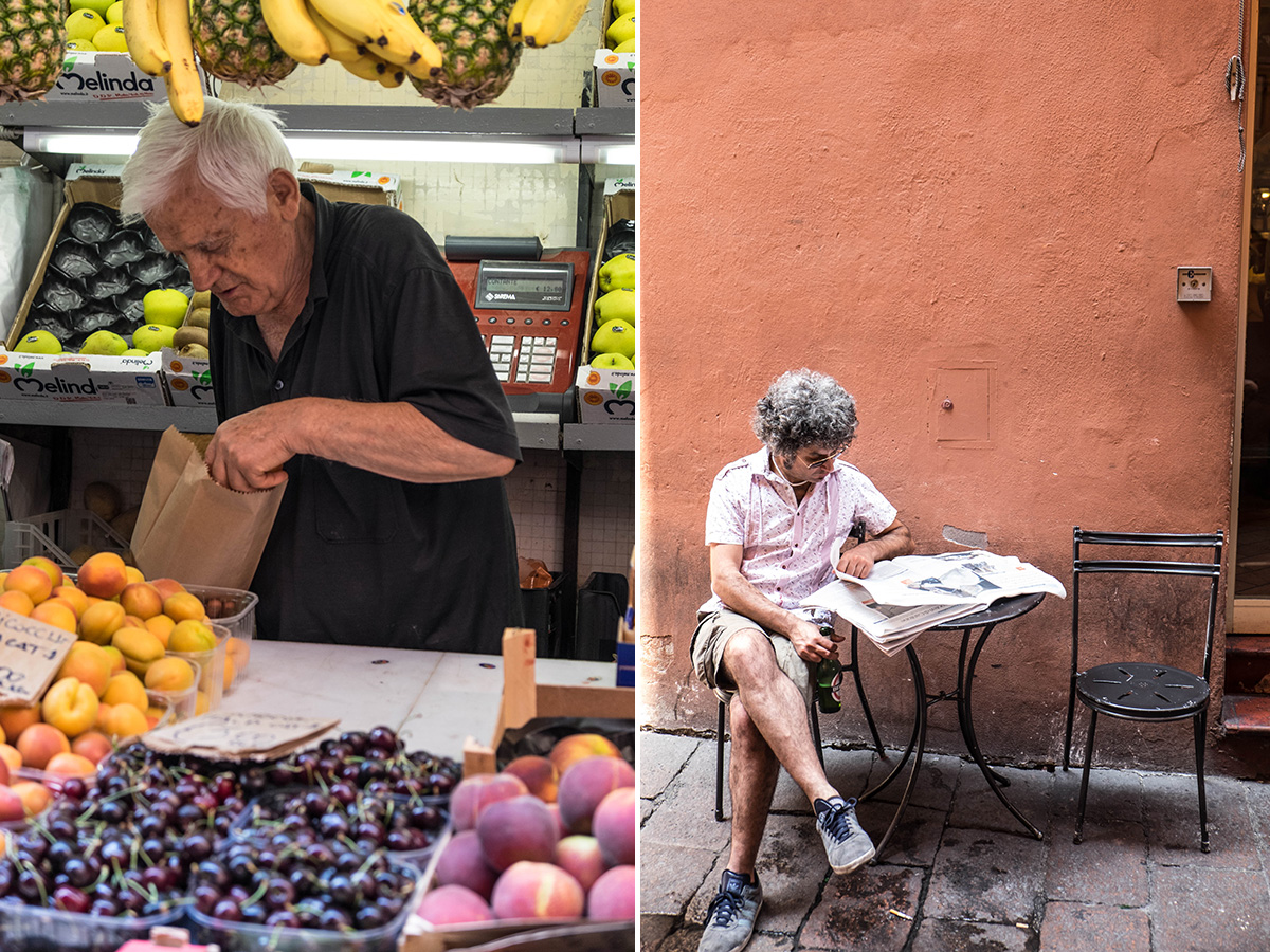 The streets of Bologna.