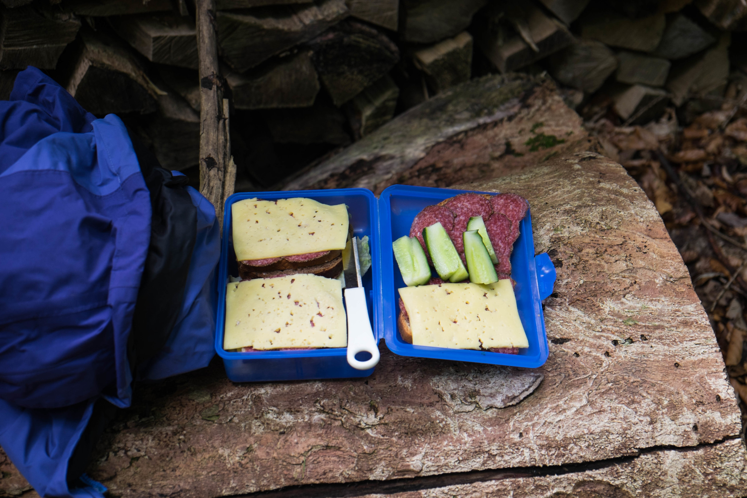 Our hiking snack that Kurt packed for us - rye bread + emmentaler cheese + salami + sliced cucumber - simple & satisfying.