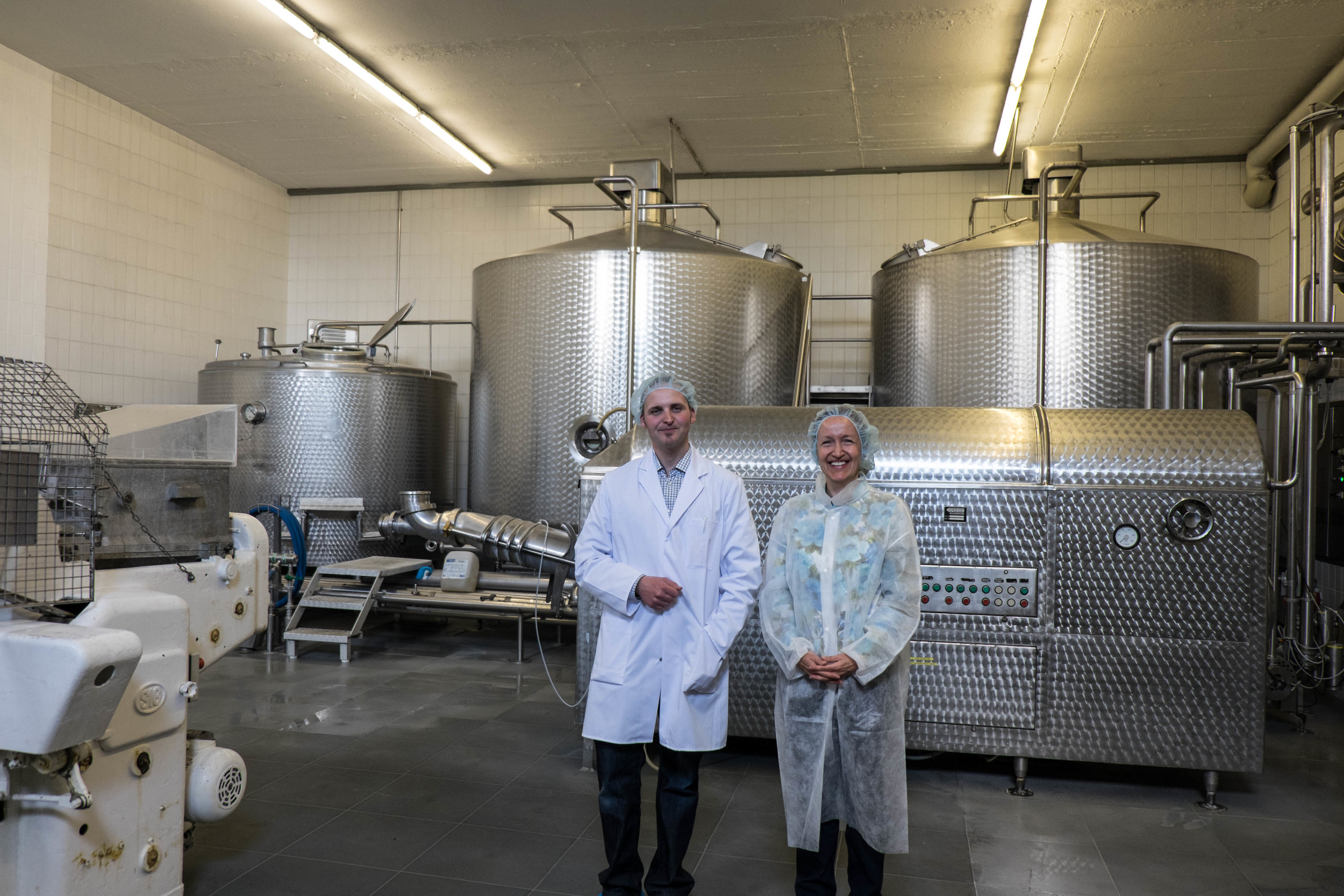 The dairy vats - Mr. Gutensohn and Birgit.