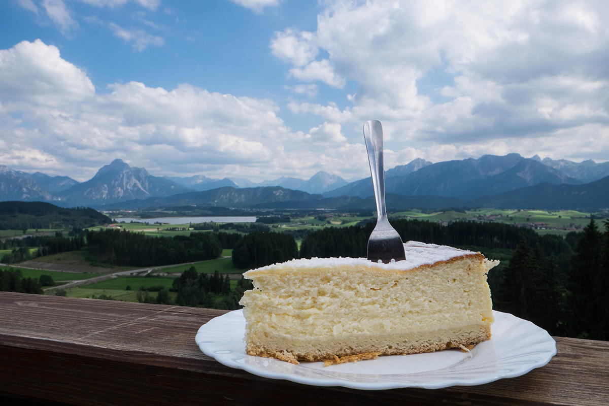 Kaesekuchen - German cheesecake.  Similar to NY Cheesecake in terms of creamyness, but German cheesecake is a bit more fluffier and their crust is made out of flour.