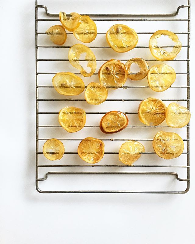 Made candied meyer lemons! 🍋 Just slice lemons - boil in water for 1 min - dump them in a bowl of iced water - then simmer in 1 part water/1 part sugar until translucent - lay out on wire rack to dry. Ta-da! #whenlifegivesyoulemons