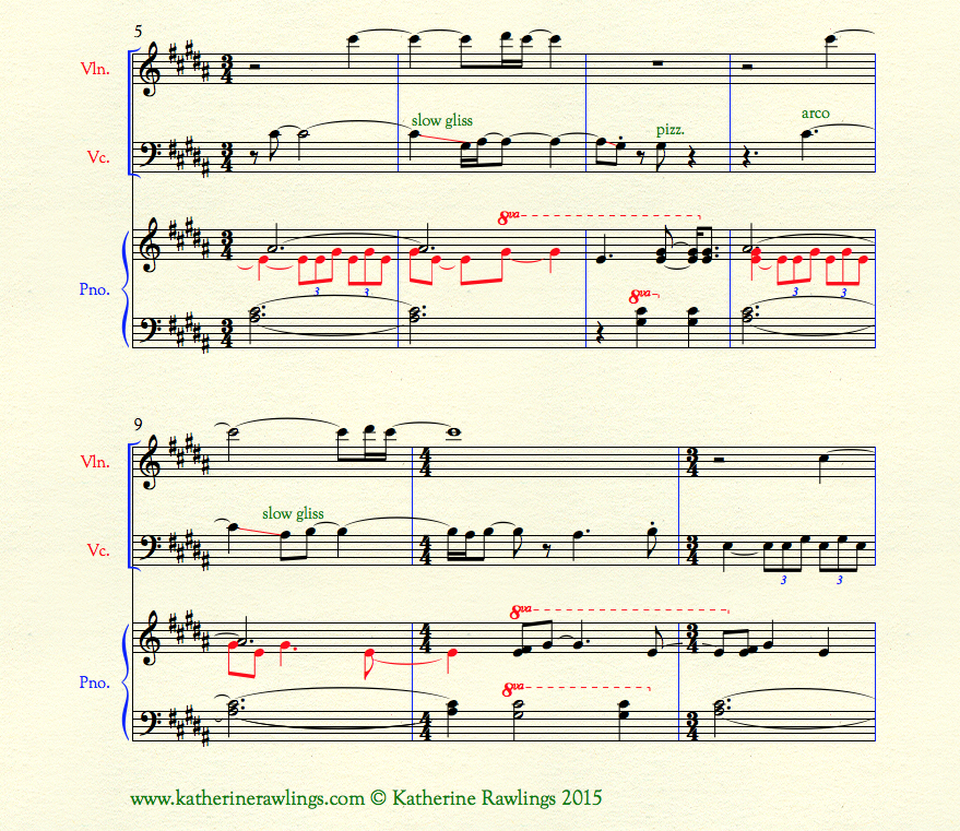 Example of octave displacement in the piano part of Section A (8va---)