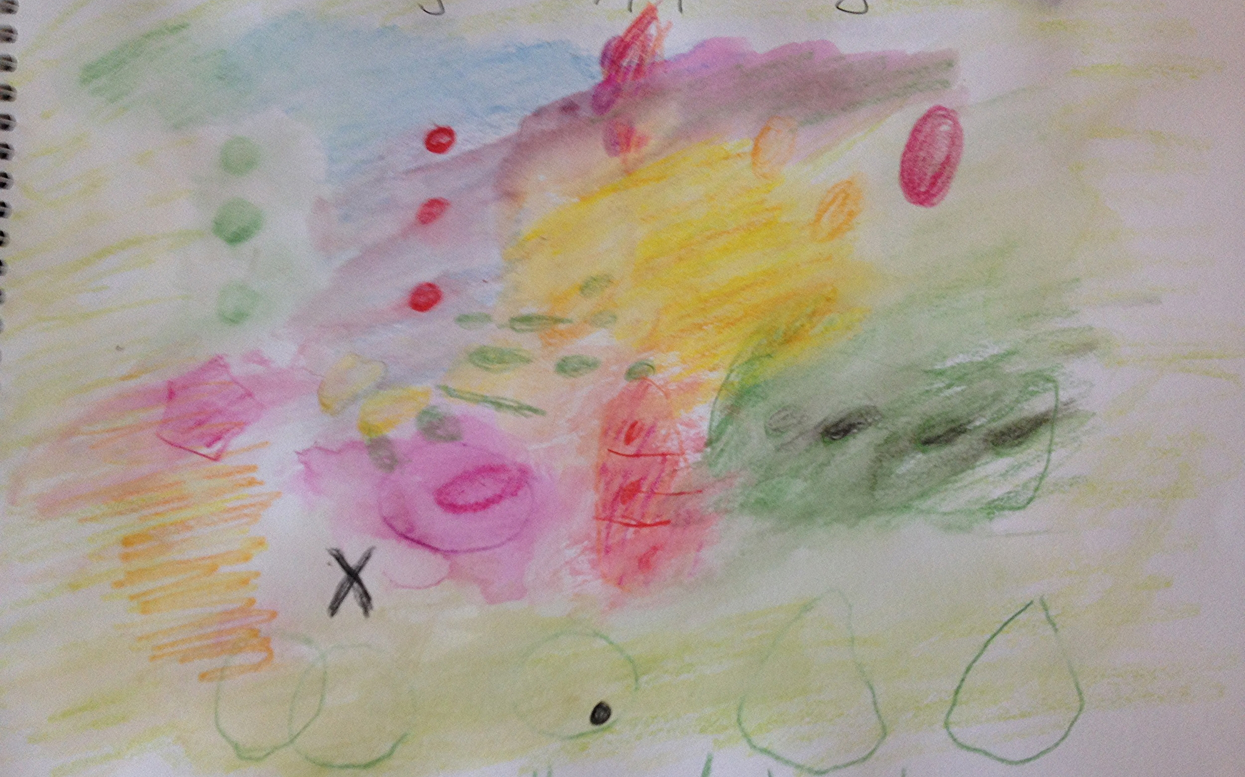 """Colour play by Katherine based on different elements from Koener's Green """"Cantatas for a divine garden"""". I did this drawing on the day of my Grandmothers funeral, so it was a somewhat cathartic exercise."""