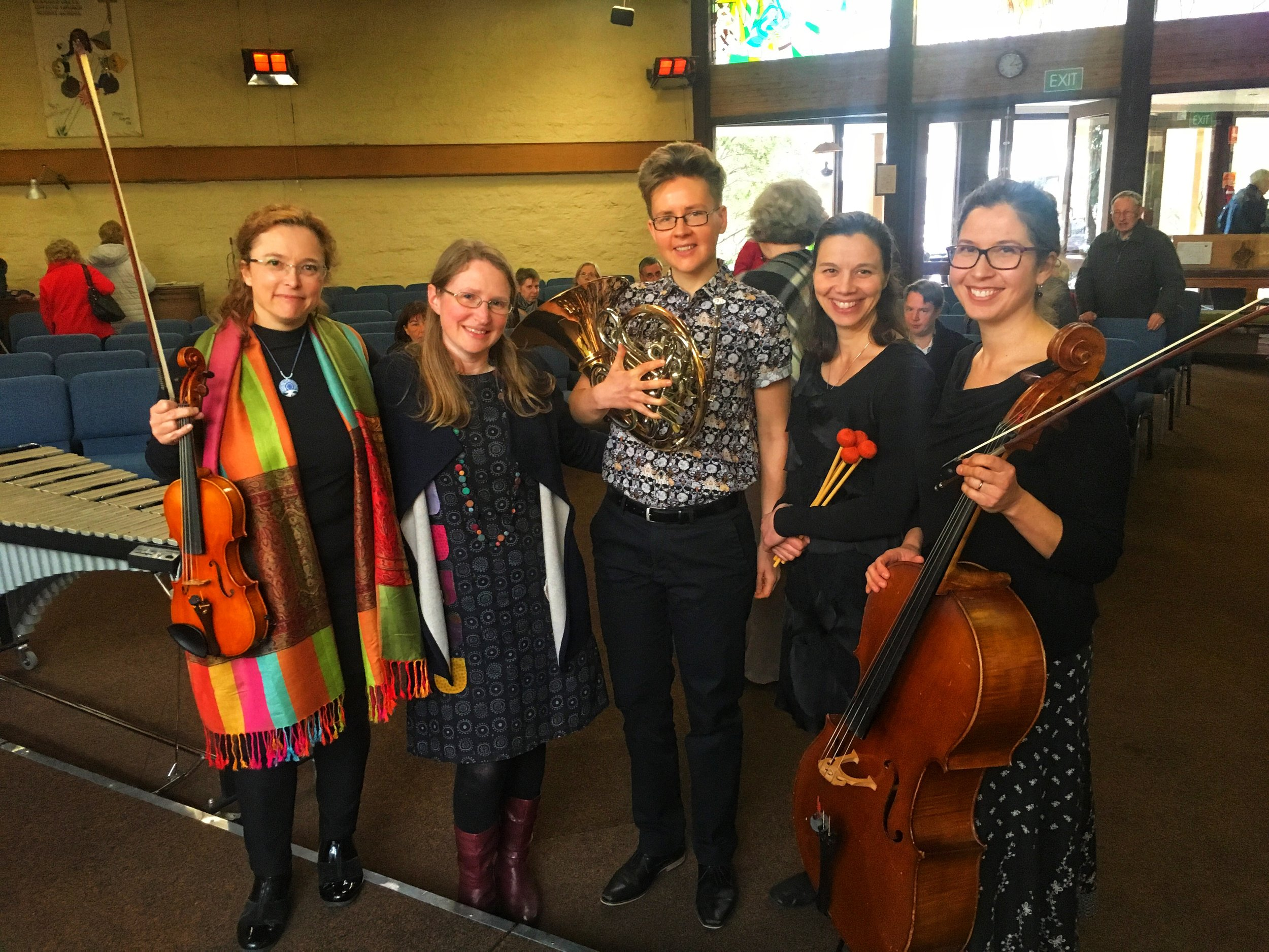 From left to right: Marianne Rothschild, Katherine Rawlings, Luca Vanags-Smith, Amy Valent, Karina Di Sisto
