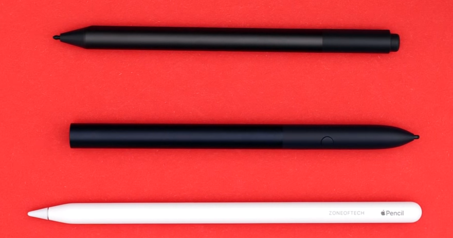 Surface Pen (Top), Pixelbook Pen (Middle), and Apple Pencil (Bottom)