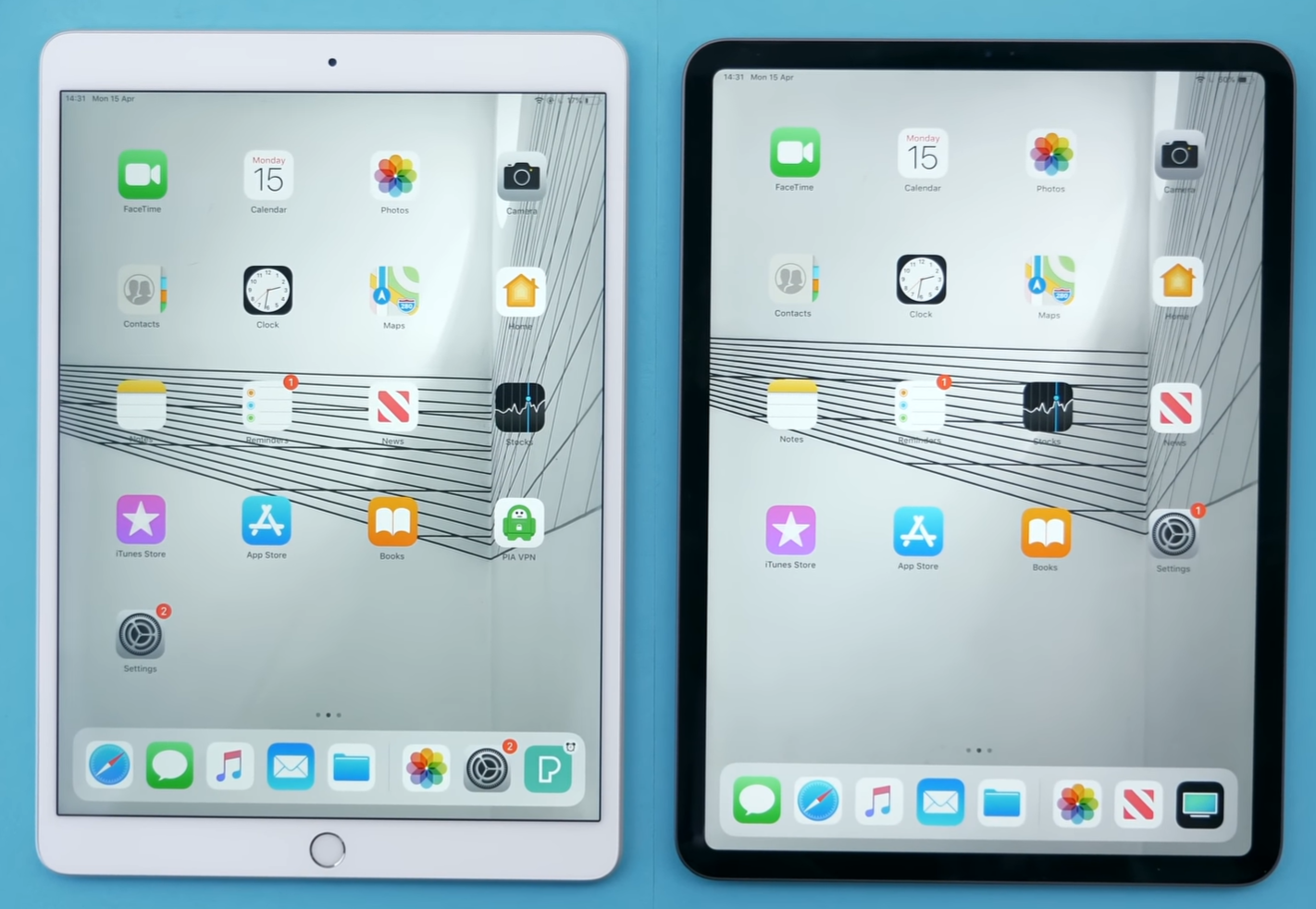 Design comparison between the Air 3 and the 2018 iPad Pro