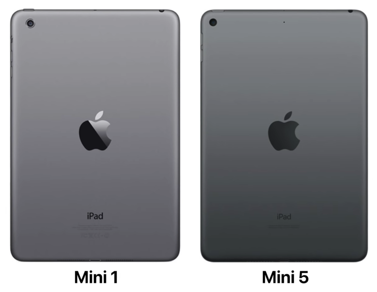 Design comparison between the original iPad Mini and the Mini 5