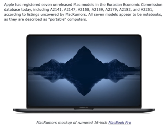 The article on MacRumors showing the new model names for the 7 unreleased models (Source: MacRumors)