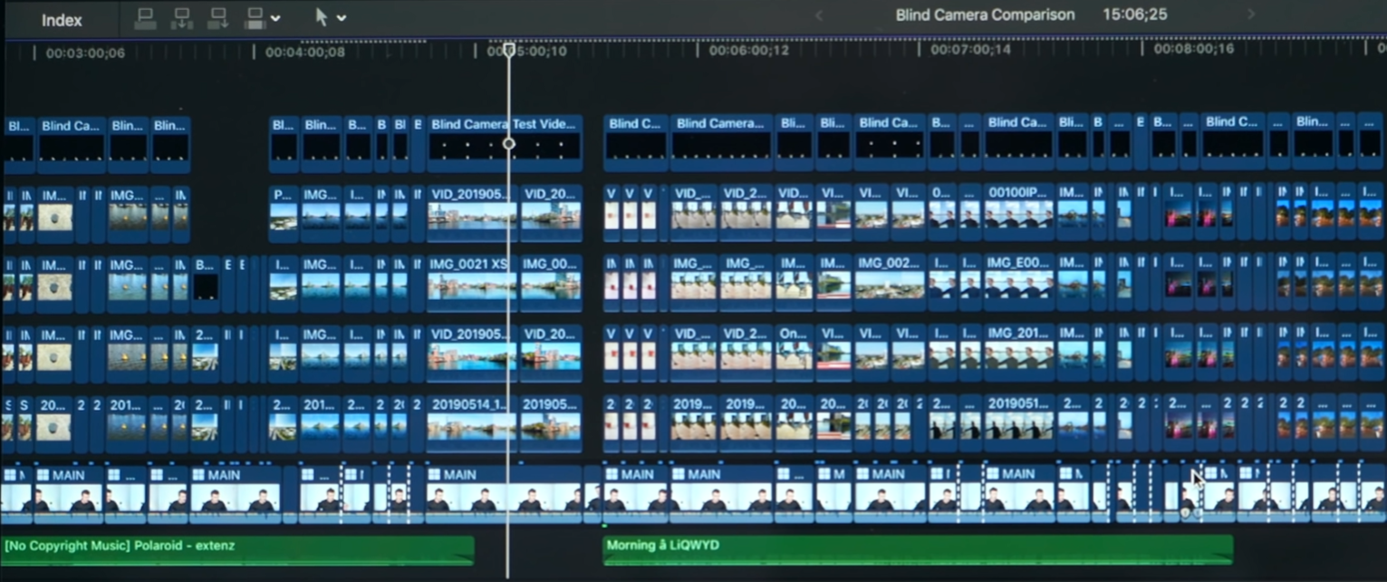 A snippet of the Final Cut Pro X Project we use for our tests