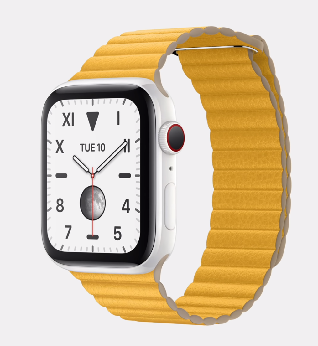 The Ceramic Series 5 with a Lemon Leather Loop (Source: Apple)