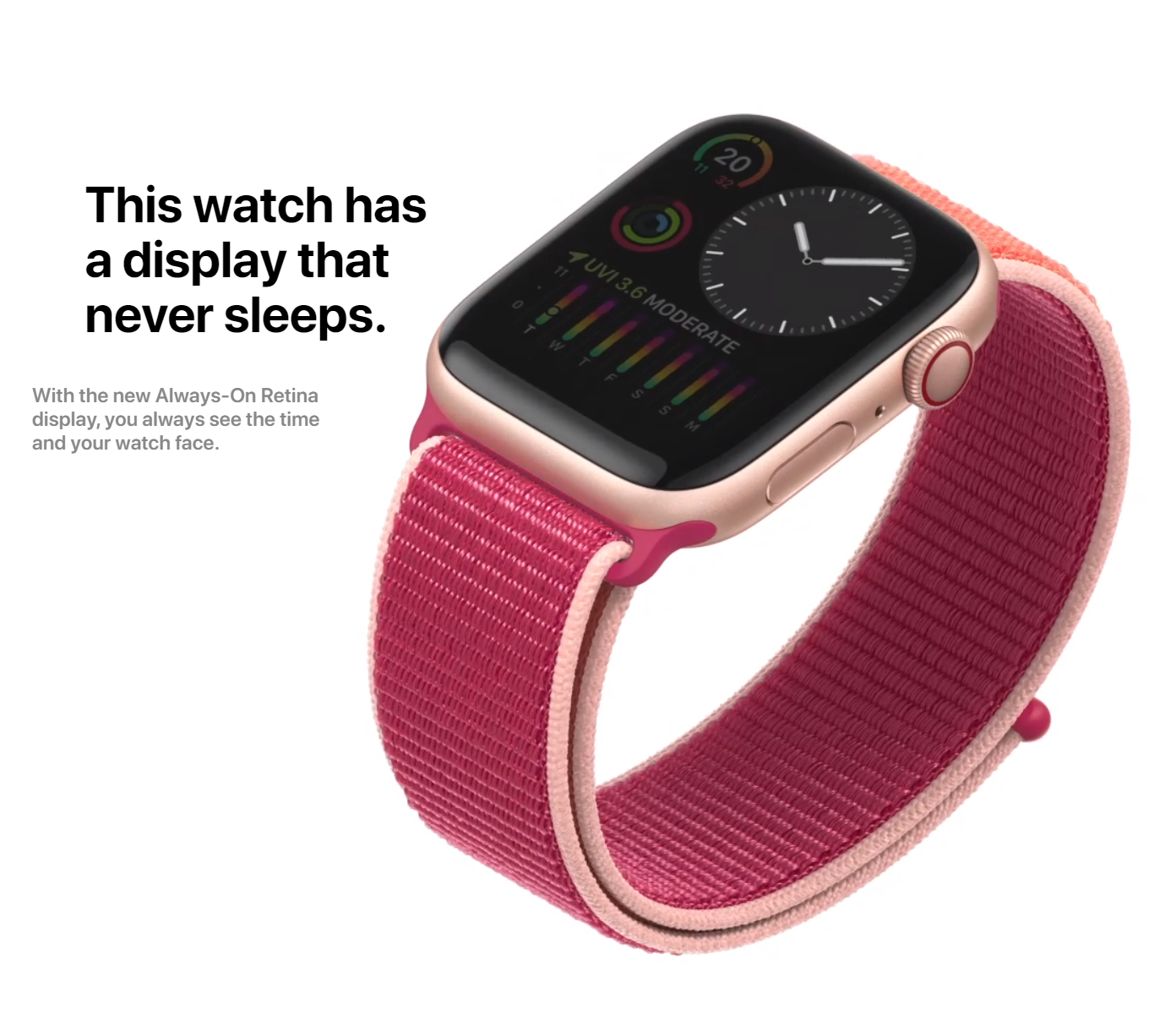 The new Always-On Display means the watch face will always be visible unlike before (Source: Apple)