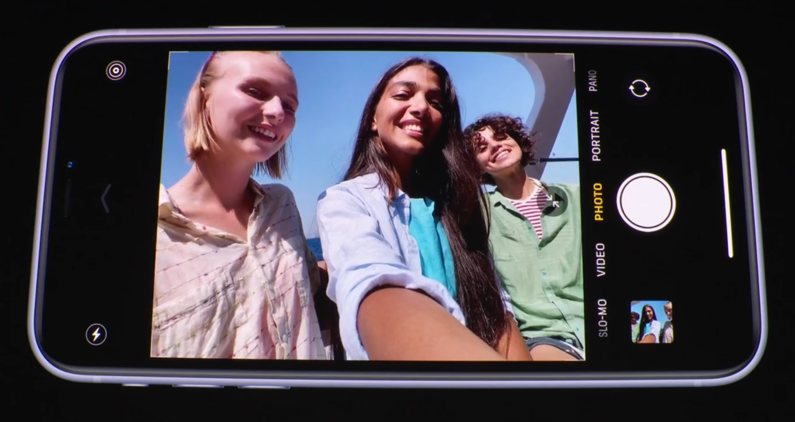 When held in landscape, the front facing camera will automatically switch to a wide angle lense (Source: Apple