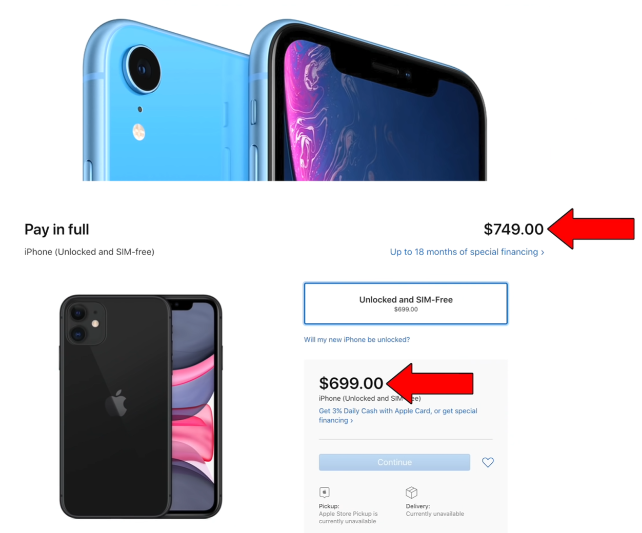 The iPhone 11's price compared to its predecessor, the XR (Source: Apple)