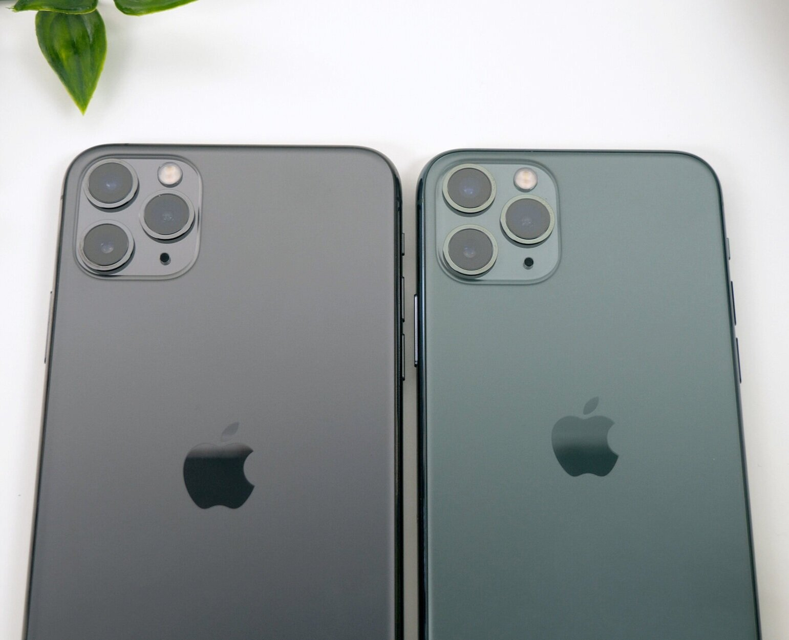 The Space Grey (Left) compared to the Midnight Green (Right) iPhone