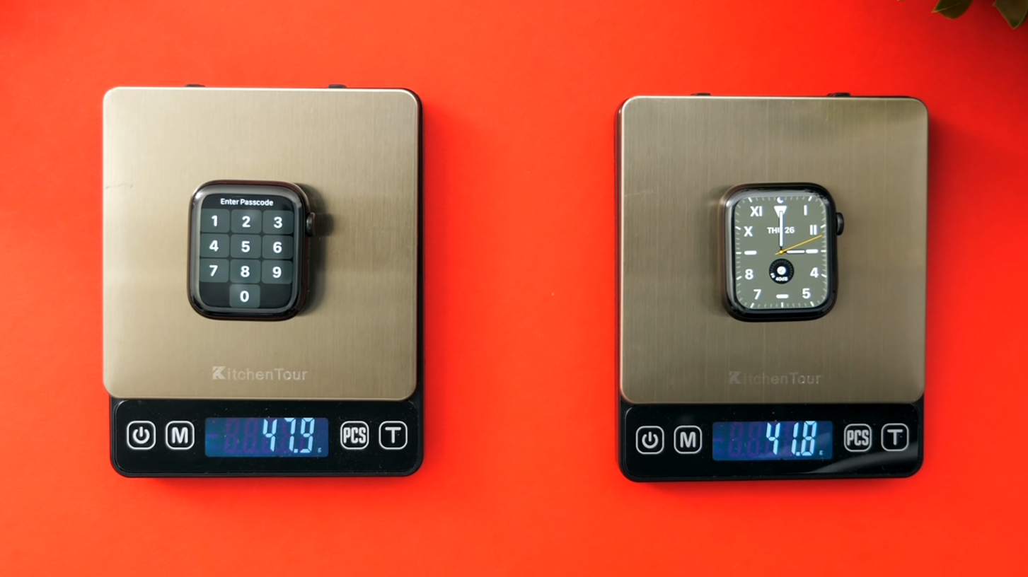 Weight comparison between the Stainless Steel model (Left) and the Titanium (Right)
